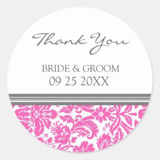 Rosa grauer Damast danken Ihnen Gastgeschenk Hochz Stickers