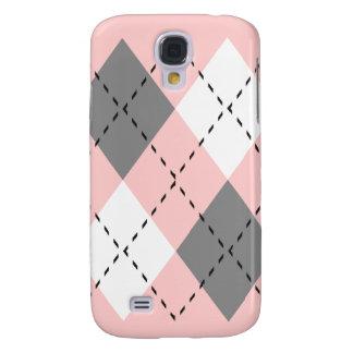 Rosa, grauer und weißer Kasten der Rauten-iPhone3 Galaxy S4 Hülle