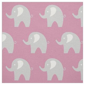 Rosa graues Gewebe des Babyelefantmuster-Gewebes Stoff