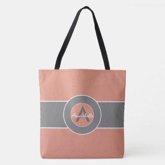 Rosa graues Monogramm personalisiert Tasche