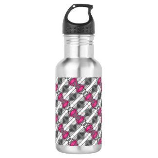 Rosa graues und weißes geometrisches Muster Edelstahlflasche