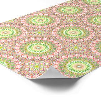 Rosa, grüne, gelbe u. orange Kaleidoskop-Blumen Poster