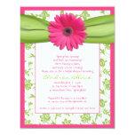 Rosa grüne personalisierte einladungskarten