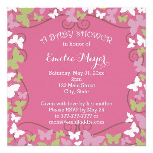 Rosa grüne Schmetterlings-Babyparty-Einladung