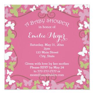 Rosa grüne Schmetterlings-Babyparty-Einladung Quadratische 13,3 Cm Einladungskarte