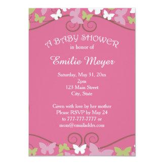 Rosa grüne Schmetterlings-Babyparty-Einladung 11,4 X 15,9 Cm Einladungskarte