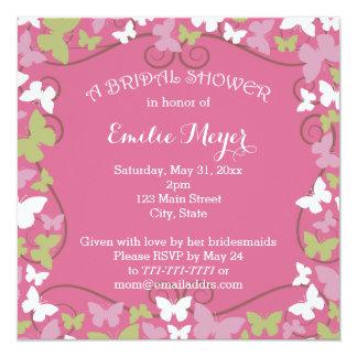 Rosa grüne Schmetterlings-Brautparty-Einladung Quadratische 13,3 Cm Einladungskarte