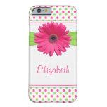 Rosa grüner Tupfengerbera-Gänseblümchen iPhone 6 Barely There iPhone 6 Hülle