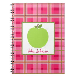 Rosa grünes Apple Lehrer-Notizbuch Paisleys