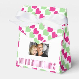 Rosa grünes Hochzeitsherz-Foto 4 Geschenkschachteln