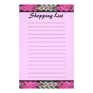 Rosa grünes Muster der Einkaufsliste Bedrucktes Büropapier
