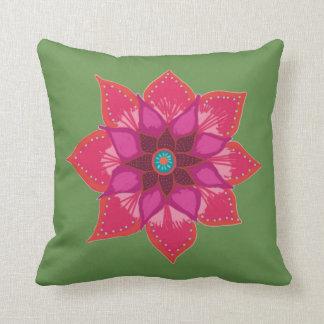Rosa grünes rotes rotes Mandala-Blume Throw-Kissen Kissen
