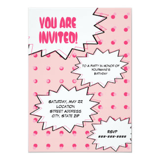 Rosa HalbtonPop-Kunst-Comic-inspirierter 12,7 X 17,8 Cm Einladungskarte