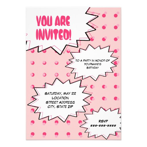 Rosa HalbtonPop-Kunst-Comic-inspirierter Individuelle Ankündigskarten