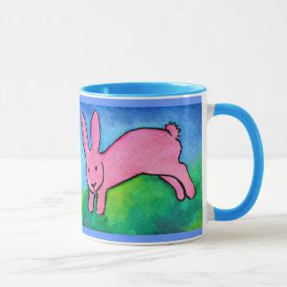 Rosa Häschen mit blauer Griff Tasse
