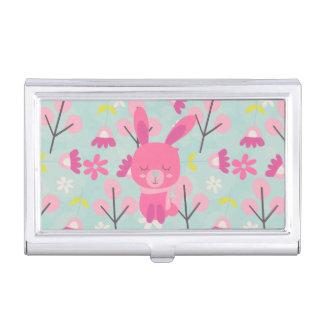 Rosa Häschen und Blumen Visitenkarten Etui