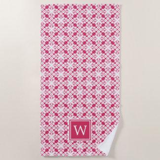 Rosa hawaiisches Muster-Monogramm Strandtuch