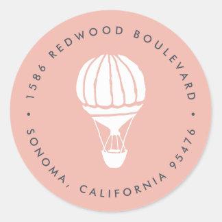 Rosa Heißluft-Ballon-Rücksendeadresse Runder Aufkleber