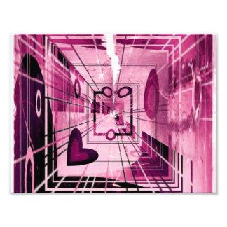 Rosa Herz abstrakt Fotodruck