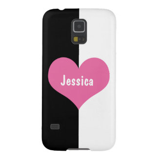 Rosa Herz auf Schwarzweiss Samsung S5 Hüllen