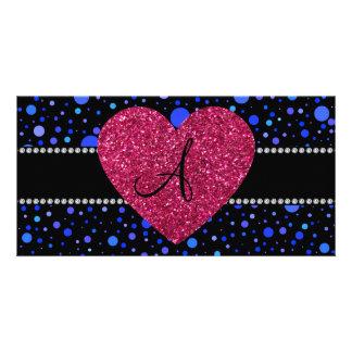 Rosa Herz der blauen Tupfen des Monogramms Photo Grußkarte