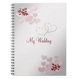 Rosa Herz-elegantes Hochzeits-Notizbuch Notizbuch