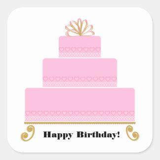 Rosa Herz-Geburtstags-Kuchen-Quadrat-Aufkleber Quadratischer Aufkleber