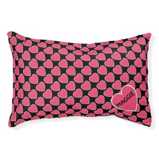 Rosa Herz-Haustier-Bett mit Namen Haustierbett