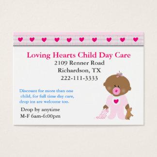 Rosa Herz-Kinderbetreuungs-Visitenkarte Visitenkarte