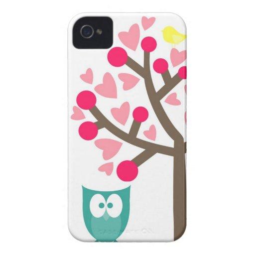 Rosa Herz-Kirschblüten-Eule iPhone 4s Fall Case-Mate iPhone 4 Hüllen