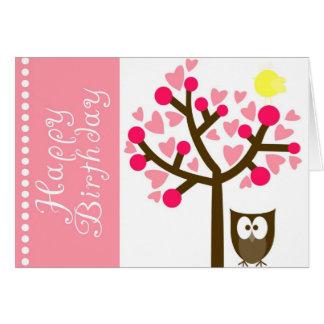 Rosa Herz-Kirschblüten-Eulen-Geburtstags-Karte Karte
