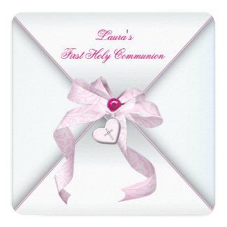 Rosa Herz-Kreuz-Mädchen-Rosa-erste Kommunion Quadratische 13,3 Cm Einladungskarte