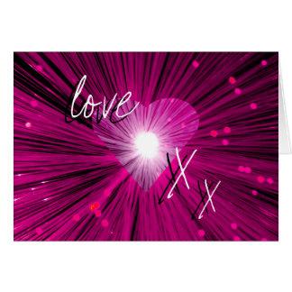 """Rosa Herz""""Liebe- u. Kuss"""" Grußkarte"""