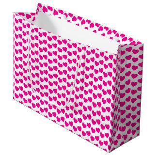 Rosa Herz-Muster auf weißer großer Geschenk-Tasche Große Geschenktüte