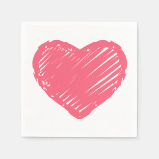 Rosa Herz Papierservietten