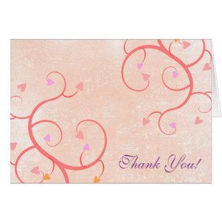 Rosa Herz-Reben danken Ihnen Mitteilungskarte