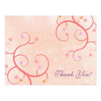 Rosa Herz-Reben danken Ihnen Postkarte
