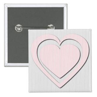Rosa Herz-Retro Muster Striped - Knopf Quadratischer Button 5,1 Cm