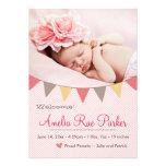 Rosa Herz u. Fahne - neue Baby-Geburts-Mitteilung Ankündigungskarten