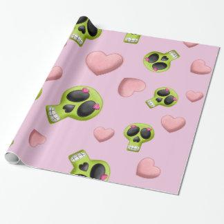 Rosa Herz-und Schädel-Packpapier Geschenkpapier