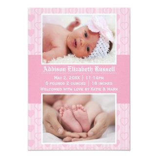 Rosa Herzen 2 Fotos - Geburts-Mitteilung Karte