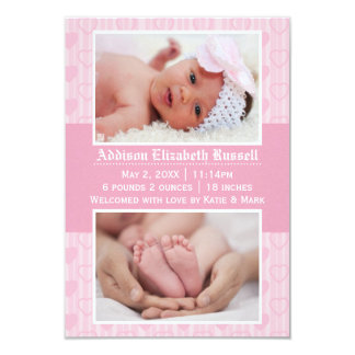 Rosa Herzen 2 Fotos - Mitteilung der Geburts-3x5 Karte