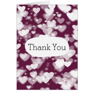 Rosa Herzen Bokeh danken Ihnen Karte