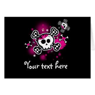 Rosa Herzen Schädel u. Knochen-Falte danken Ihnen Karte