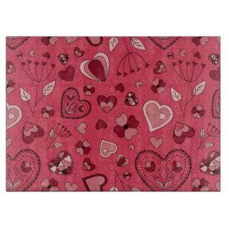 Rosa Herzen und Blumen Glasschneiden-Brett Schneidebrett