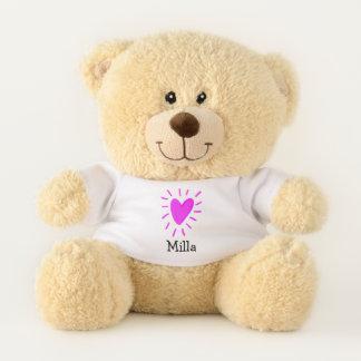 Rosa Herzpersonalisierter Teddy-Bär Teddybär