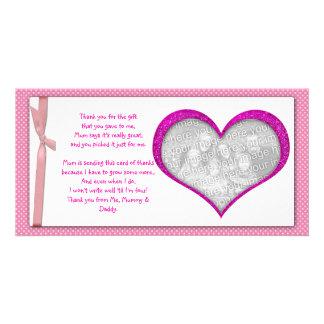 Rosa Herzrahmen danken Ihnen Foto-Karte vom Baby Fotokartenvorlage