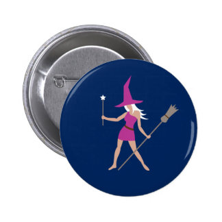 Rosa Hexe Runder Button 5,7 Cm