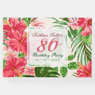 Rosa Hibiskus-80. Geburtstags-Party-Gast-Buch Gästebuch