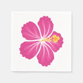 Rosa Hibiskus-Blume Papierserviette